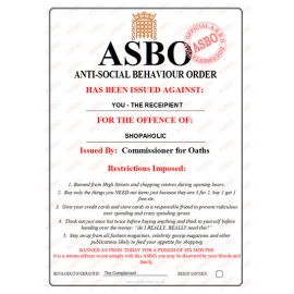 Novelty ASBO Certificate for the Offence of:  Shopaholic