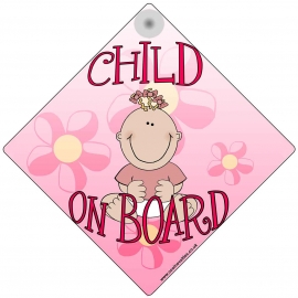 Child on Board for Girls Novelty Car Window Sign