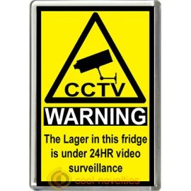 Lager Novelty CCTV Warning Sign Fridge Magnet