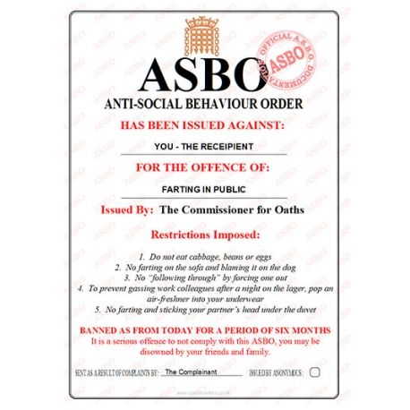 Novelty ASBO Certificate for the Offence of:  Farting in Public