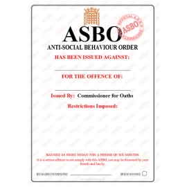 Novelty ASBO Certificate Pack:  Blank Pack of 2 (DIY)