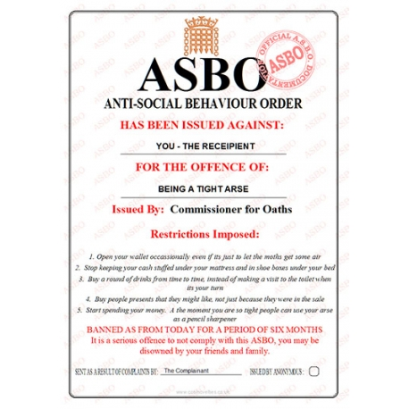Novelty Asbo Certificate For The Offence Of Being A Tight