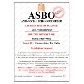 Tight Arse - Novelty ASBO Certificate
