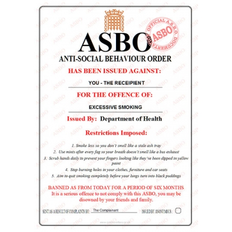 Excessive Smoking - Novelty ASBO Certificate