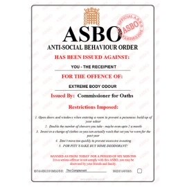 Extreme Body Odours - Novelty ASBO Certificate