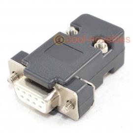 9 Way D-Sub Female Socket Connector & Black Hood