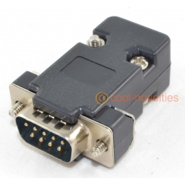 9 Way D-Sub Male Plug Connector & Black Hood