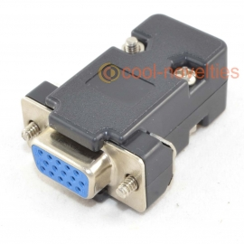15 Way High-Density (HD) D-Sub Female Socket Connector & Black Hood