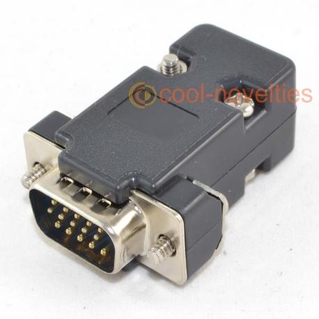 15 Way High-Density (HD) D-Sub Male Plug Connector & Black Hood