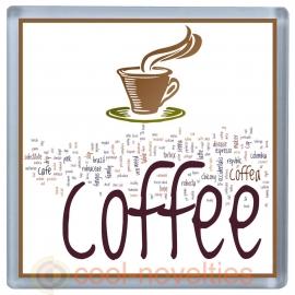 Coffee Word Art Stylish Modern Coaster
